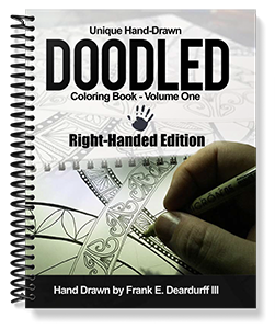 Unique Hand Drawn Doodled Right Handed Coloring Book